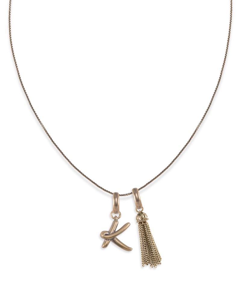 Letter Charm Tassel Necklace in Vintage Gold