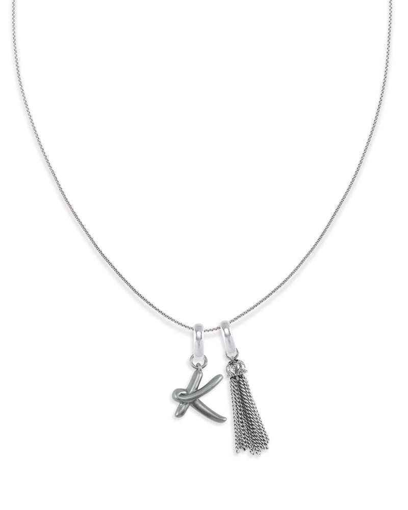 Letter F Charm Tassel Necklace in Vintage Silver