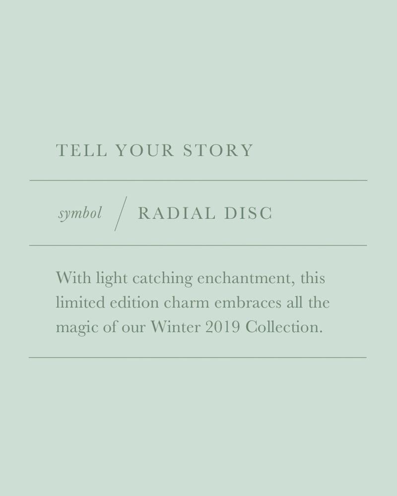 Radial Disc Gold Charm in Lilac Abalone