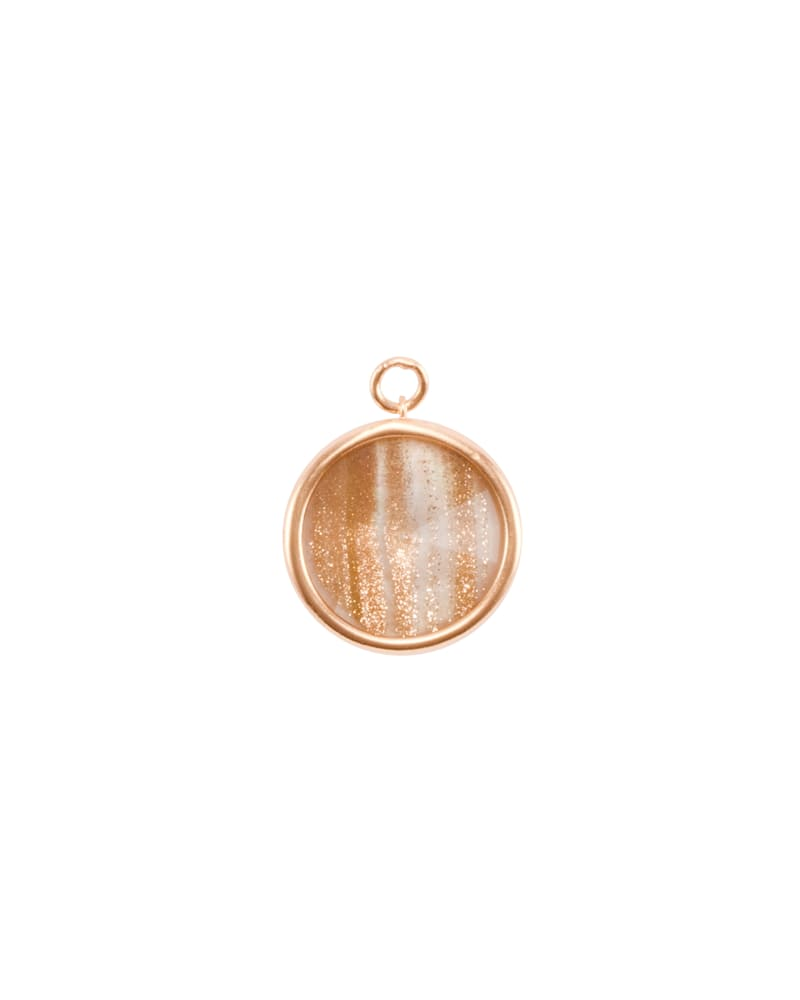 Radial Disc Rose Gold Charm in Gold Dusted Pink Illusion