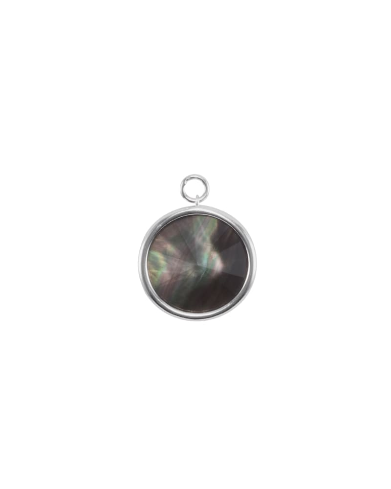 Radial Disc Silver Charm in Black Mother-of-Pearl
