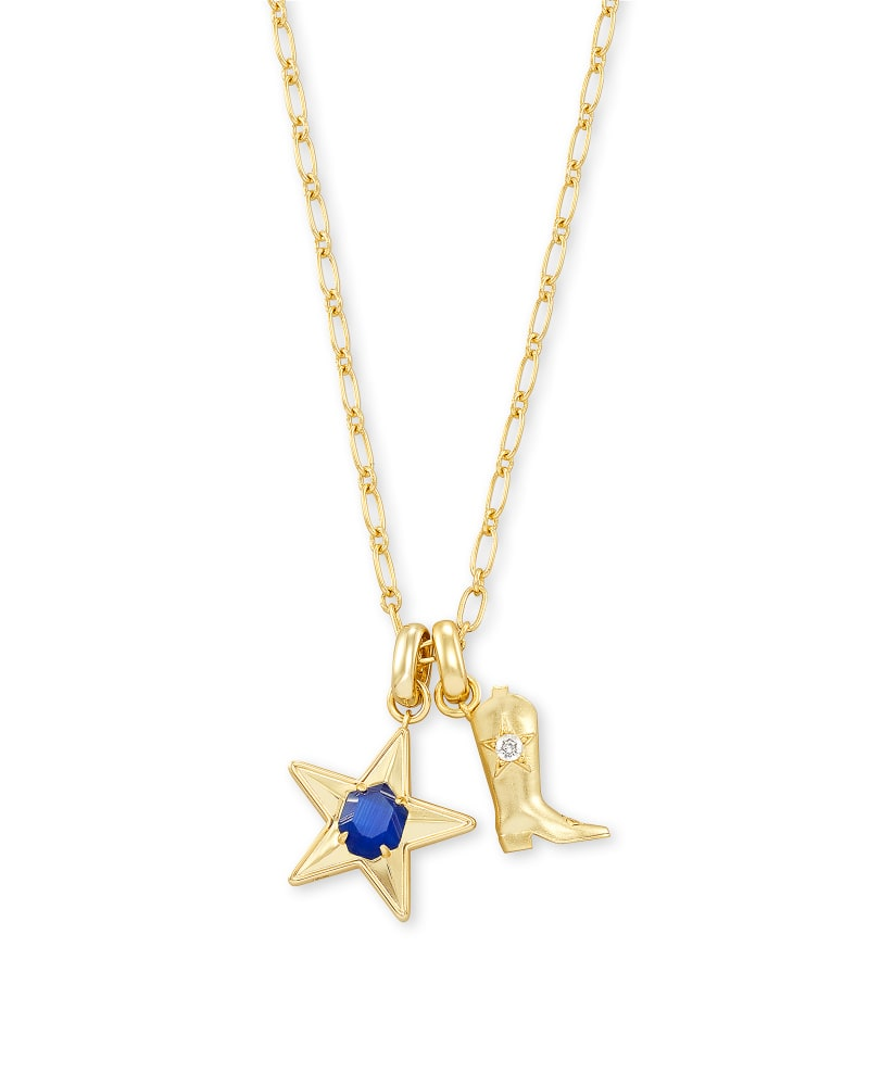 Dallas Cowboys Star and Boot Necklace Set in Gold