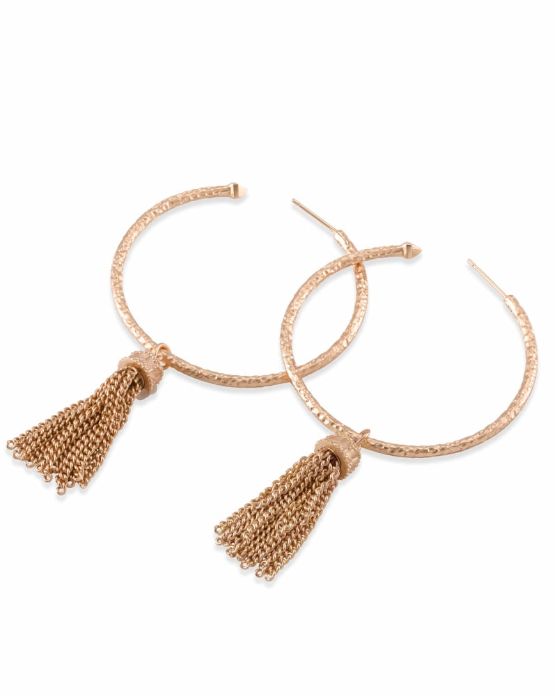 Tassel Charm Hoop Earrings Set in Rose Gold
