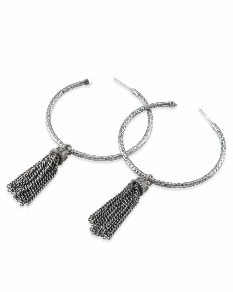 Tassel Charm Hoop Earrings Set in Vintage Silver