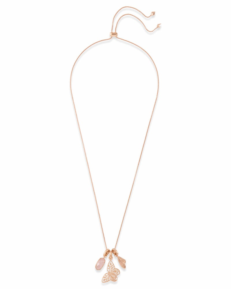 Metastatic Breast Cancer Necklace Charm Set in Rose Gold