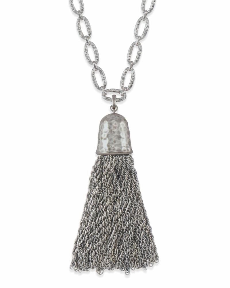 Tassel Charm Necklace Set in Vintage Silver
