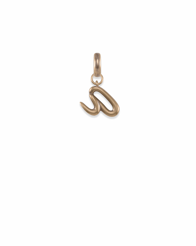 Letter A Charm in Vintage Gold