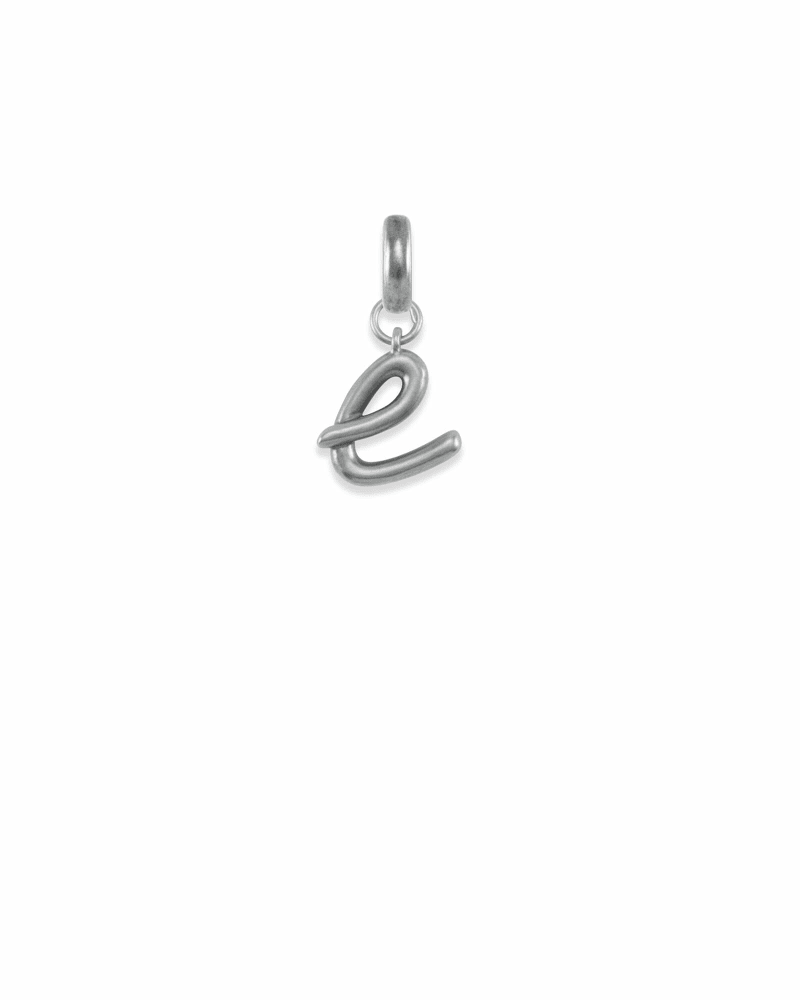 Letter E Charm in Vintage Silver
