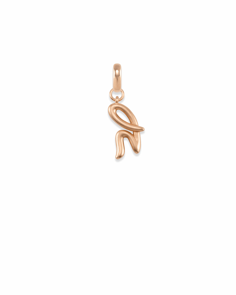Letter H Charm in Rose Gold
