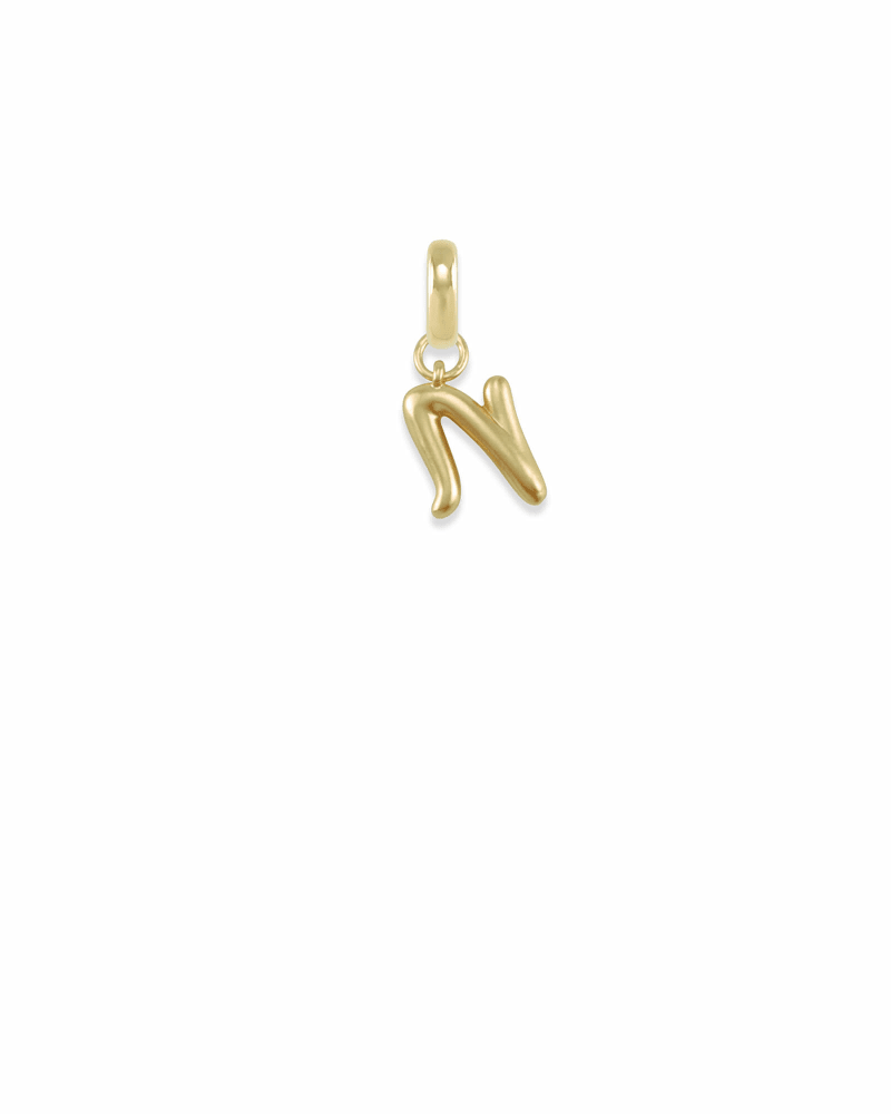 Letter N Charm in Gold