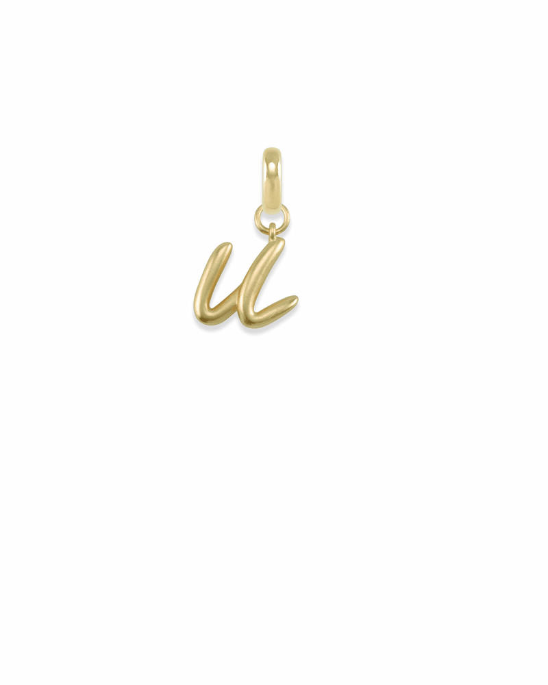Letter U Charm in Gold
