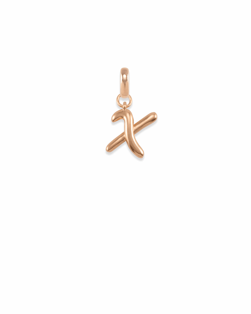 Letter X Charm in Rose Gold