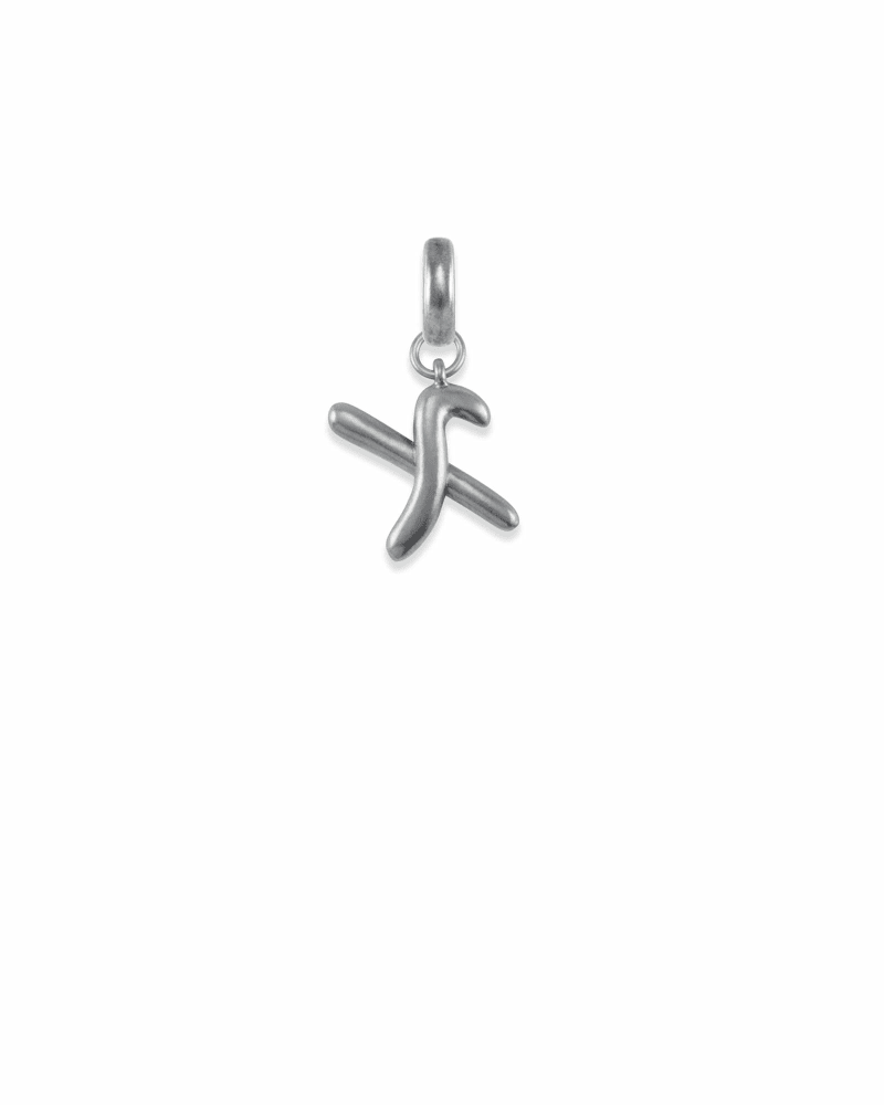 Letter X Charm in Vintage Silver