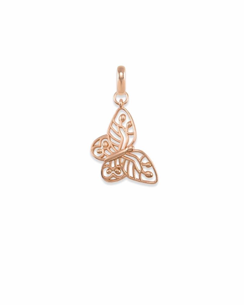 Breast Cancer Butterfly Charm in Rose Gold