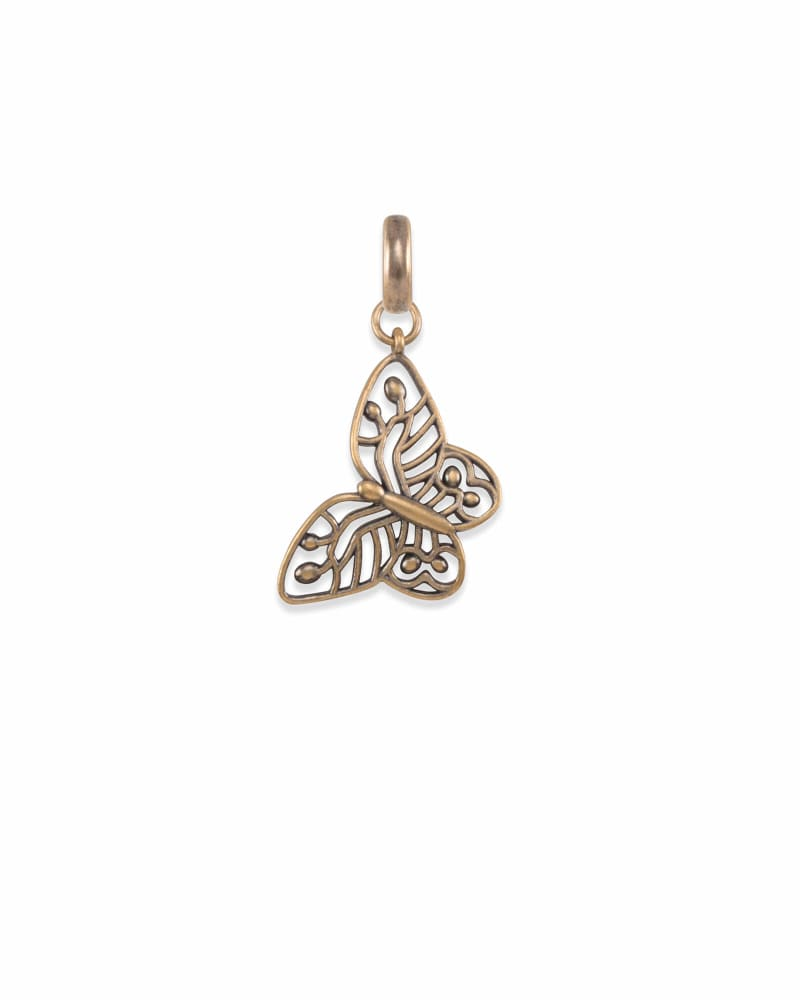 Breast Cancer Butterfly Charm in Vintage Gold