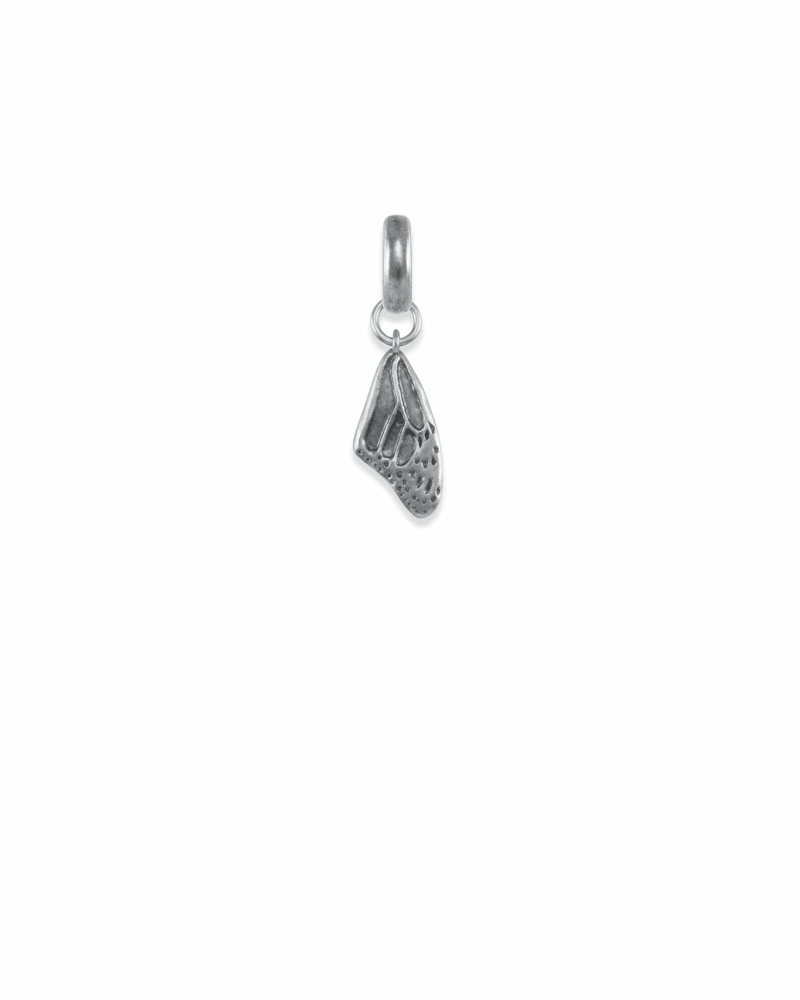 Breast Cancer Butterfly Wing Charm in Vintage Silver