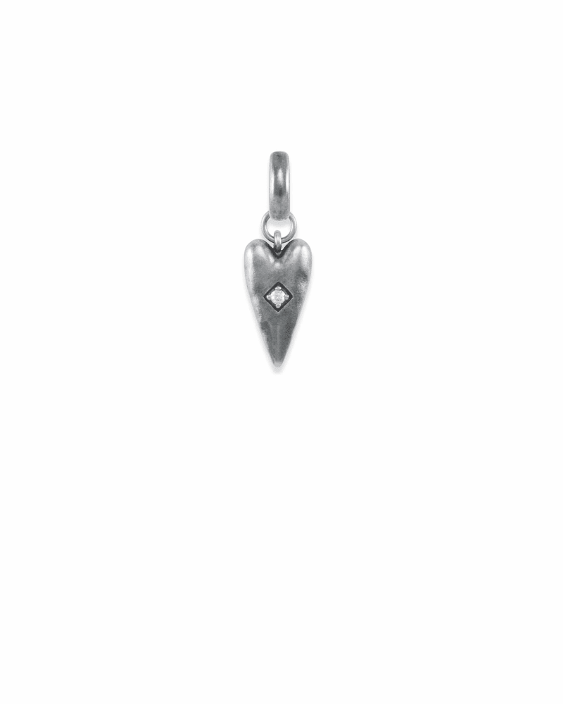 Heart Health Charm in Vintage Silver