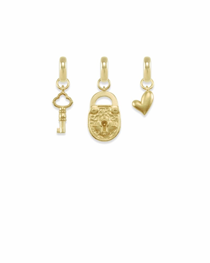 Key to My Heart Charm Set in Gold