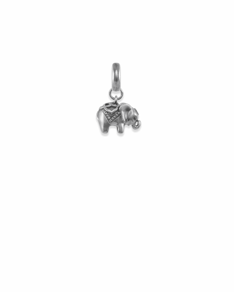 Elephant Charm in Vintage Silver