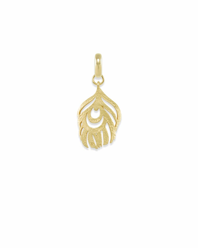 Peacock Feather Charm in Gold