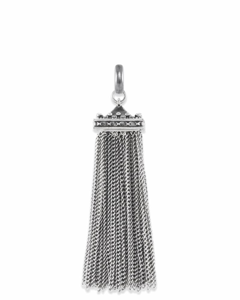 Square Tassel Charm in Silver