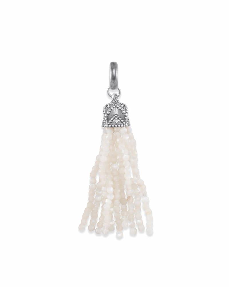 Beaded Vintage Silver Tassel Charm in Ivory Pearl