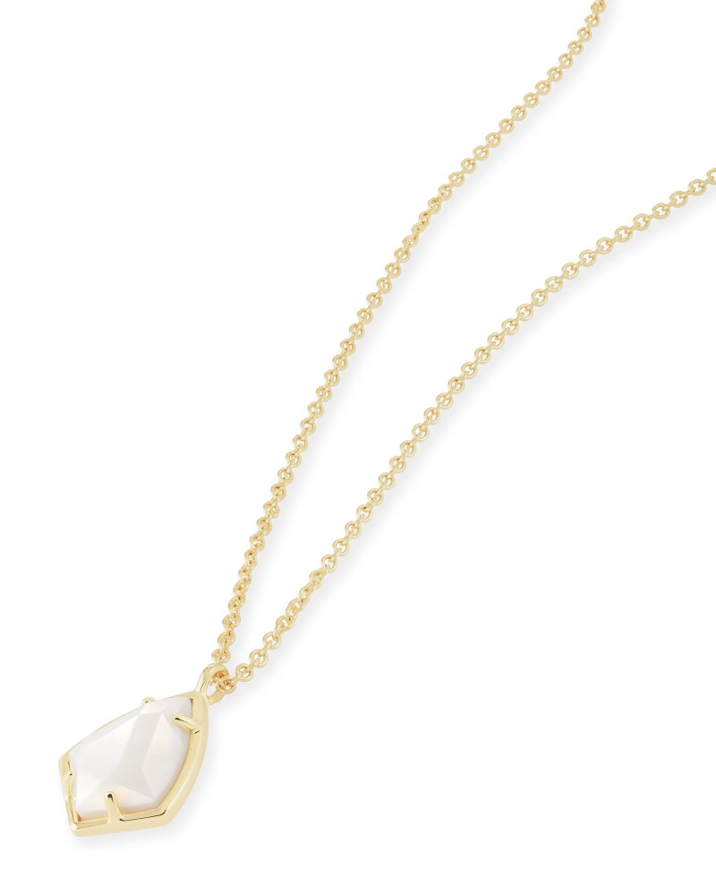Cory Gold Pendant Necklace in White Pearl