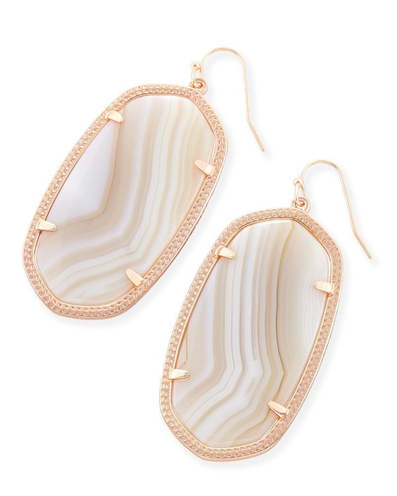Danielle Statement Earrings in Tan Banded Agate