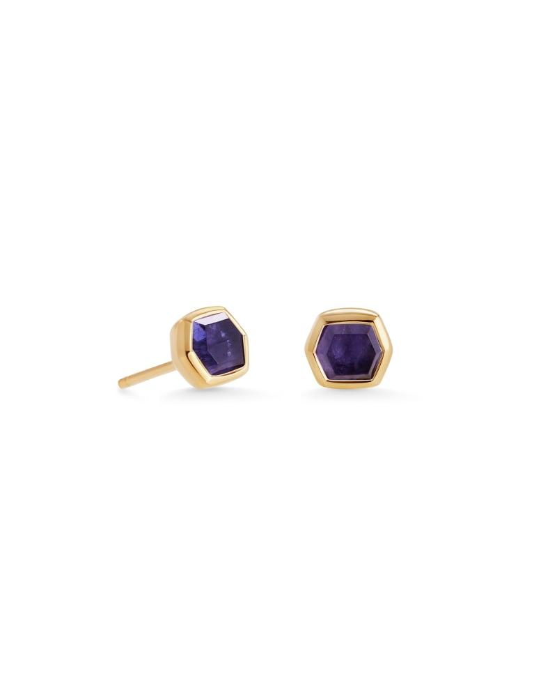 Davie 18K Gold Vermeil Stud Earrings in Blue Iolite