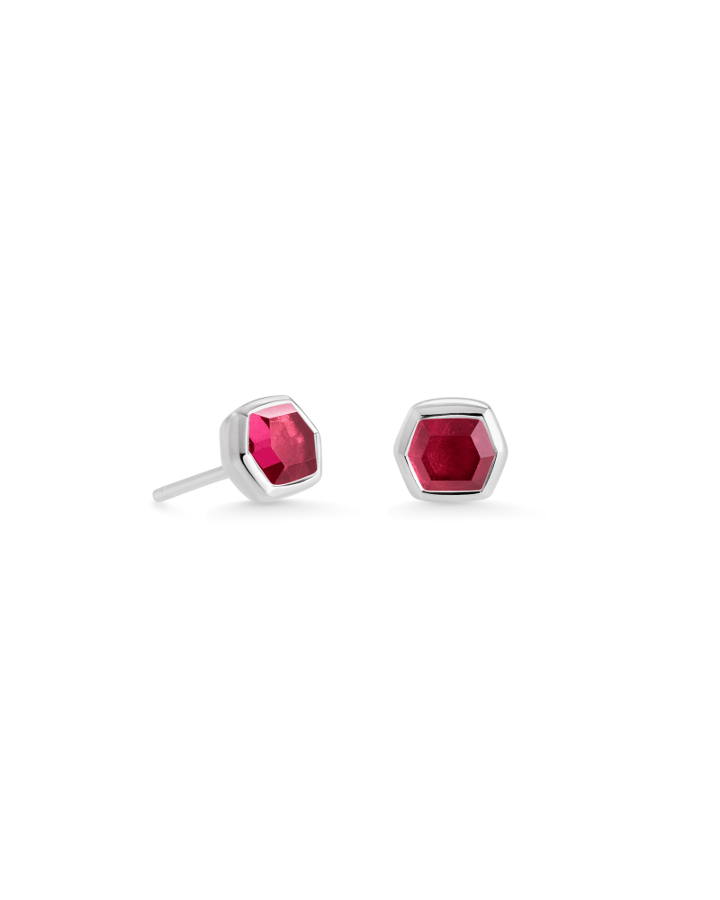Davie Sterling Silver Stud Earrings in Garnet