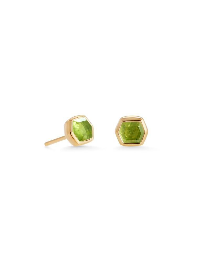 Davie 18K Gold Vermeil Stud Earrings in Peridot