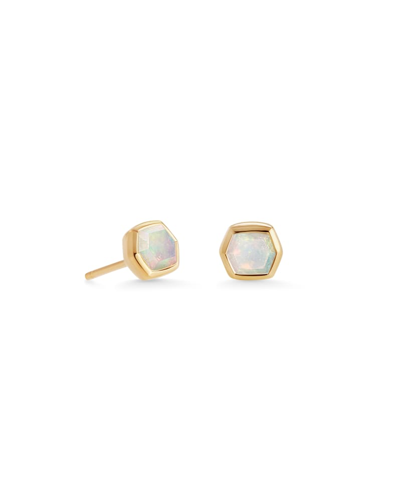 Davie 18K Gold Vermeil Stud Earrings in  White Opal