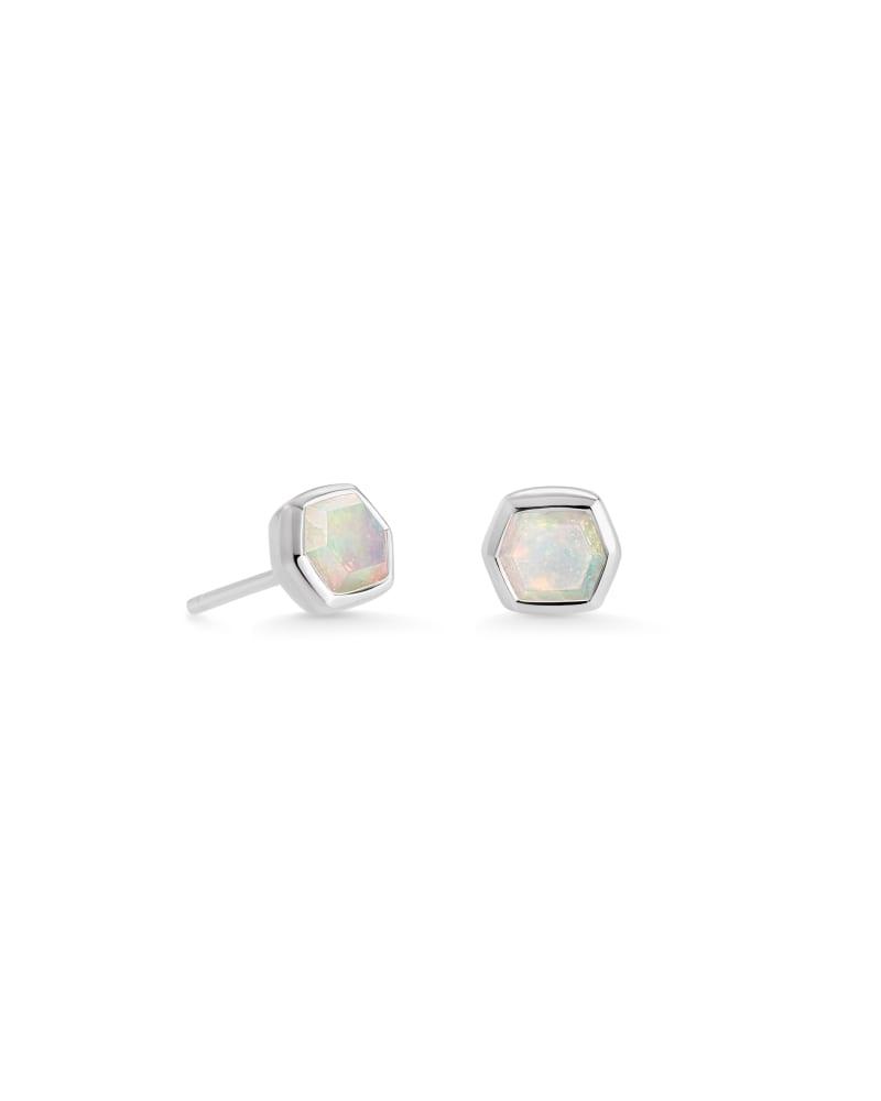Davie Sterling Silver Stud Earrings in White Opal