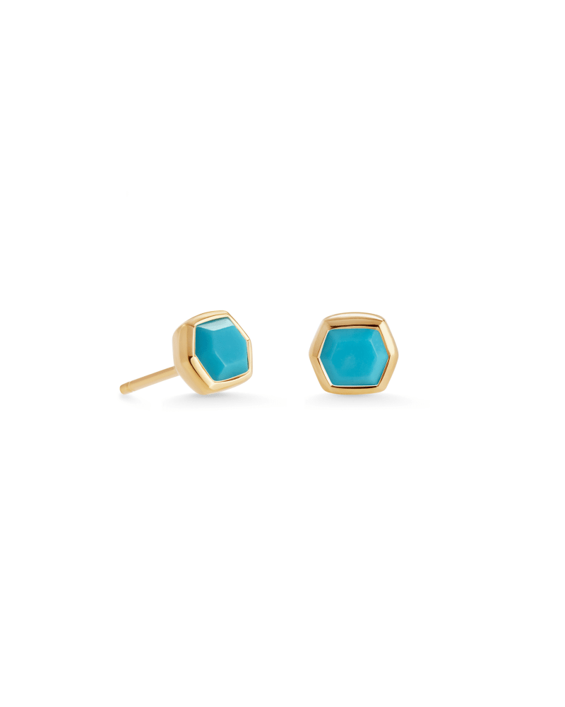 Davie 18K Gold Vermeil Stud Earrings in Turquoise