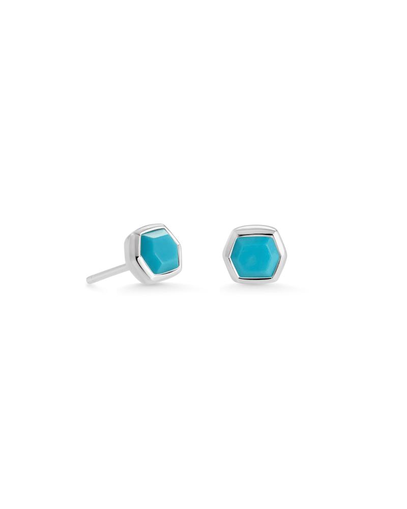 Davie Sterling Silver Stud Earrings in Turquoise