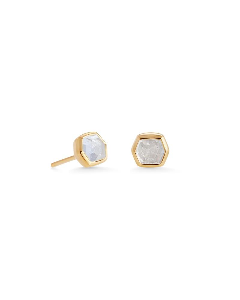 Davie 18K Gold Vermeil Stud Earrings in Rock Crystal