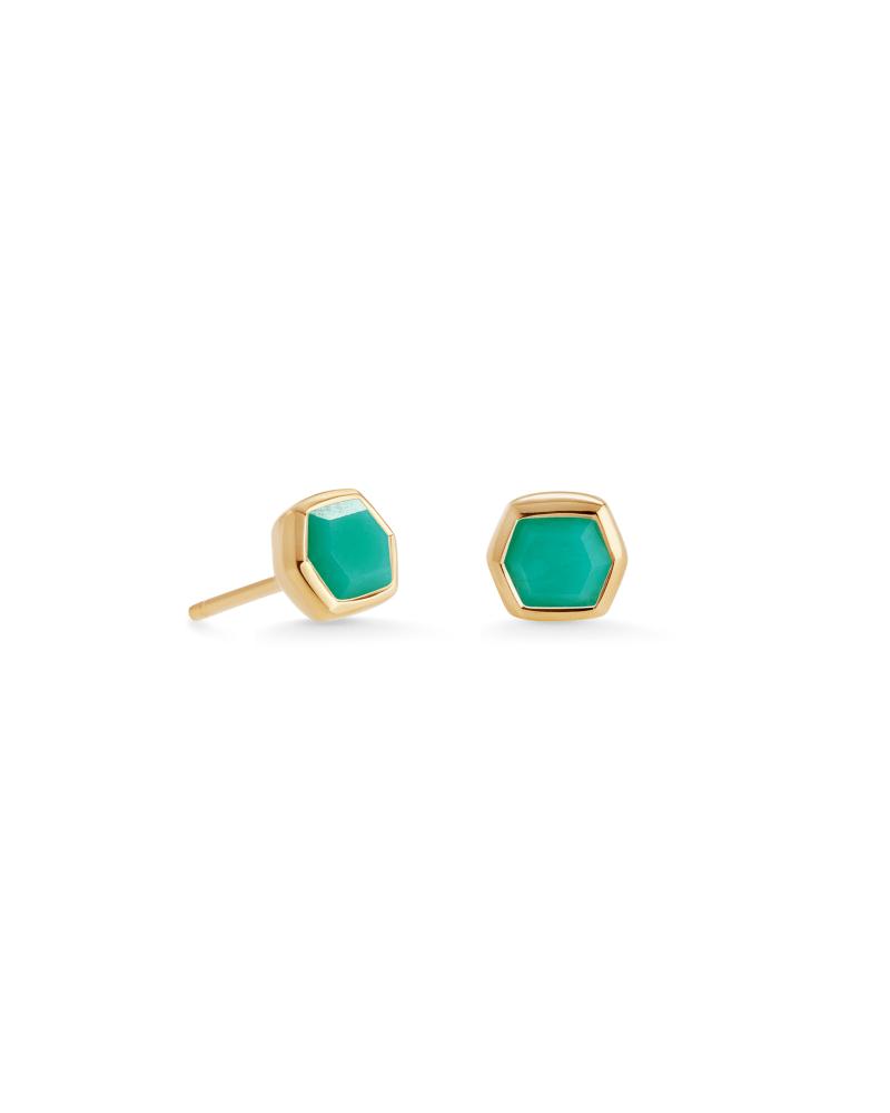 Davie 18K Gold Vermeil Stud Earrings in Chrysoprase