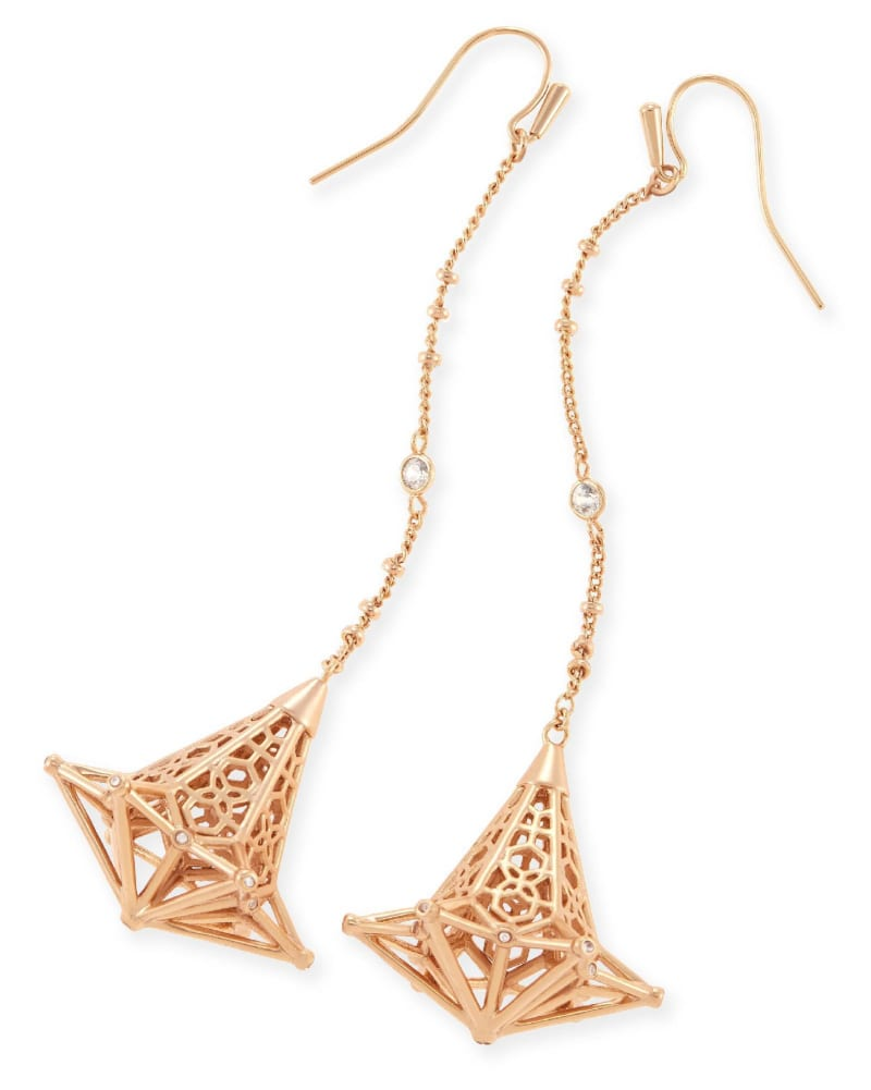 Diana Shoulder Duster Earrings in Rose Gold