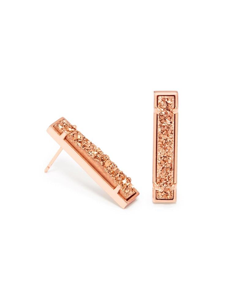 Levi Bar Stud Earrings in Rose Gold Drusy