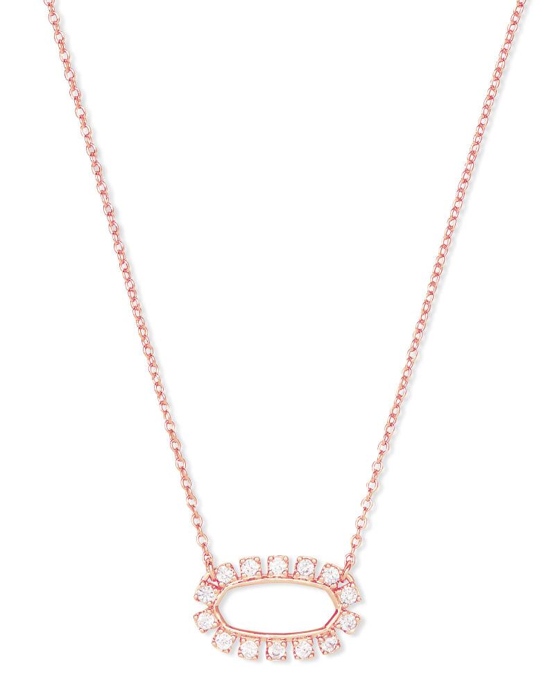 Elisa Open Frame Crystal Pendant in Rose Gold