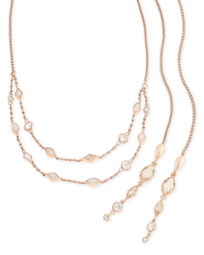 Emelina Lariat Necklace in Rose Zellige
