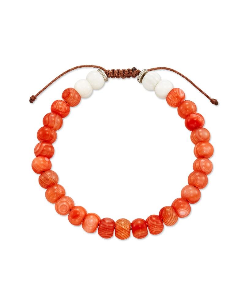Cade Oxidized Sterling Silver Beaded Bracelet in Burnt Orange Mix