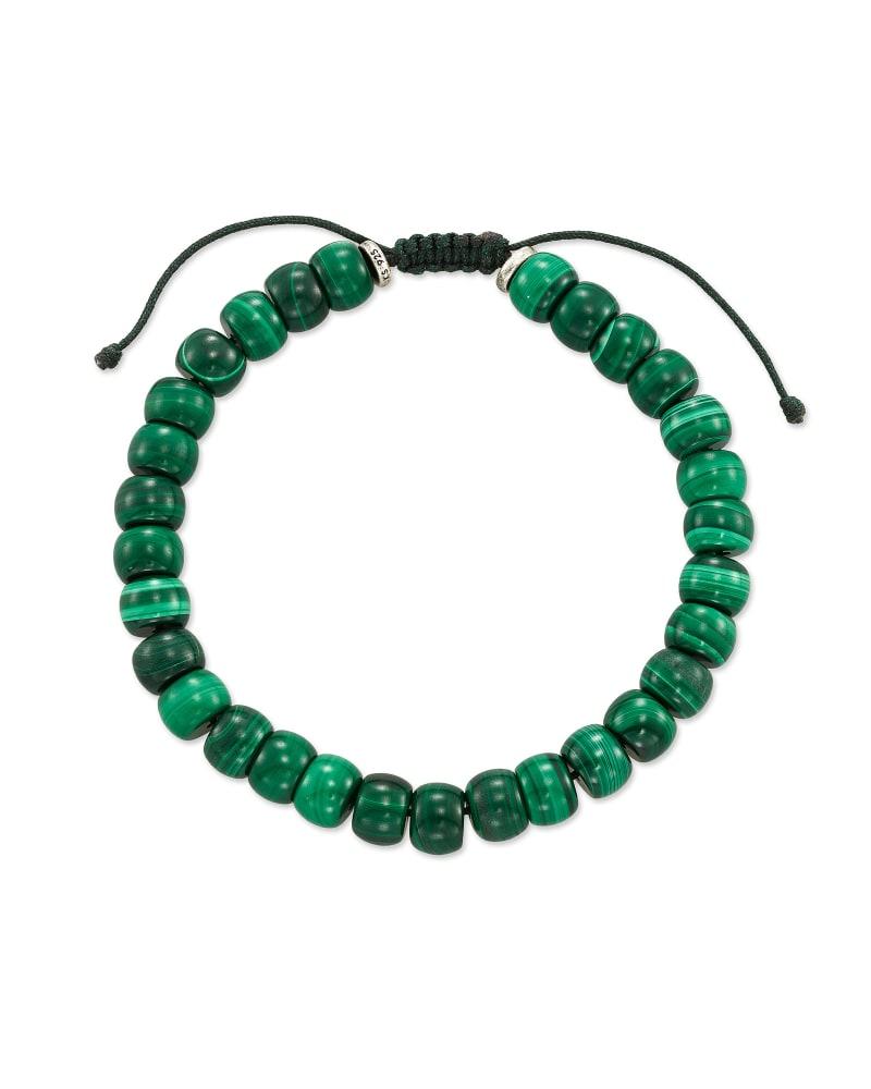 Cade Oxidized Sterling Silver Beaded Bracelet in Green Malachite