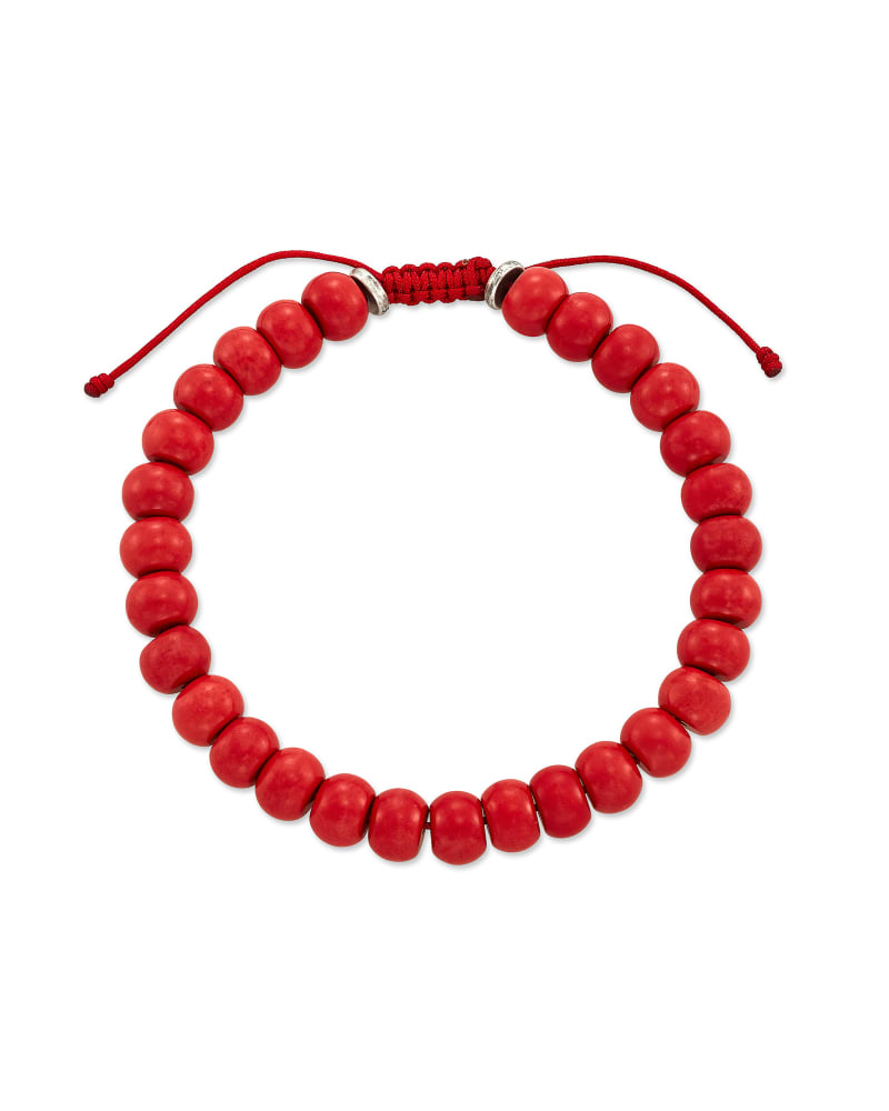 Cade Oxidized Sterling Silver Beaded Bracelet in Red Magnesite