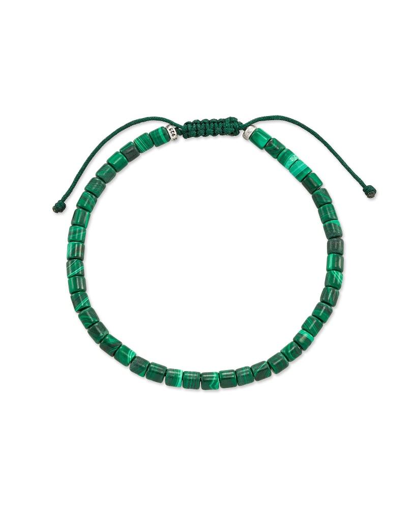 Grey Oxidized Sterling Silver Beaded Bracelet in Green Malachite