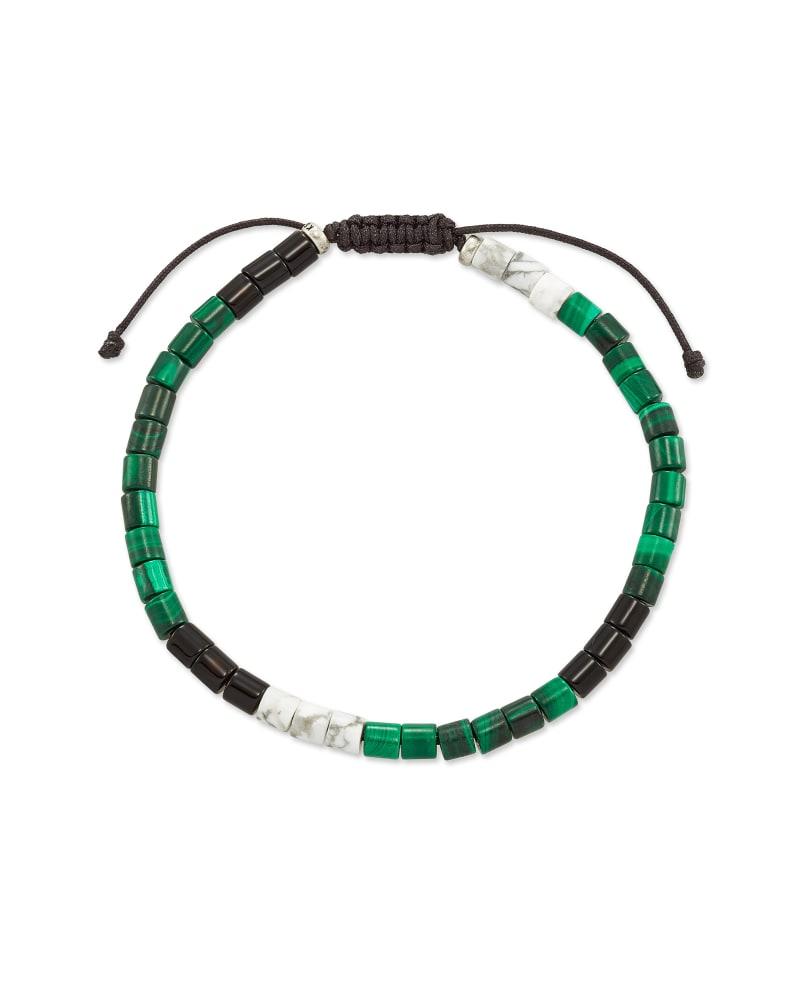 Grey Oxidized Sterling Silver Beaded Bracelet in Verde Mix