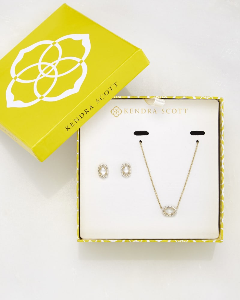Cade Earrings and Chelsea Necklace Set in Ivory Pearl