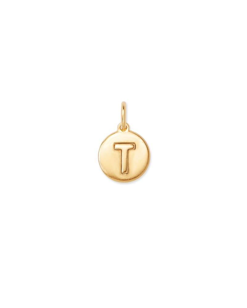 18K Gold Vermeil Letter T Coin