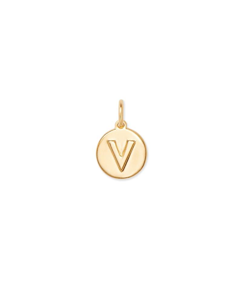 18K Gold Vermeil Letter V Coin