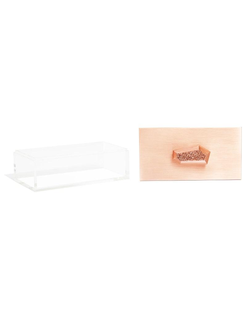 Rectangular Acrylic Box in Rose Gold Drusy
